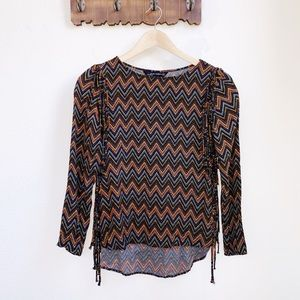Zara | Chevron Fringe Long Sleeve Top